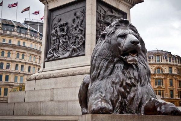 Lion Statues in Trafalgar Square, 1858